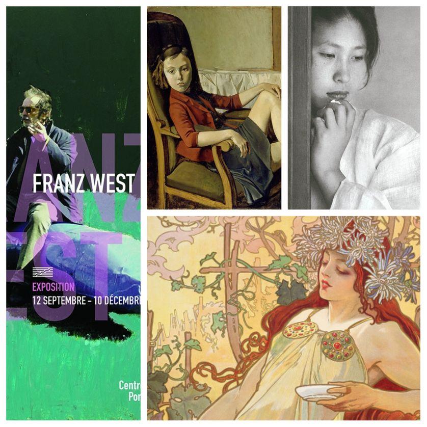 """à gauche : l'affiche de l'exposition """"Franz West"""", à droite : """"Balthus"""", """"Alphonse Mucha"""" et le livre """"Coréennes"""" de Chris Marker"""