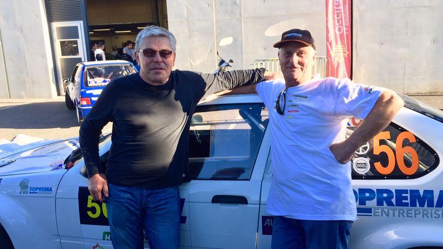 Jean-Pascal Berger et Serge Dufour avant le départ du Rallye des Cévennes