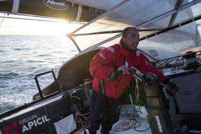 Damien Seguin, l'un des deux concurrents handicapés de la Route du rhum, dont on a pratiquement déjà oublié le handicap