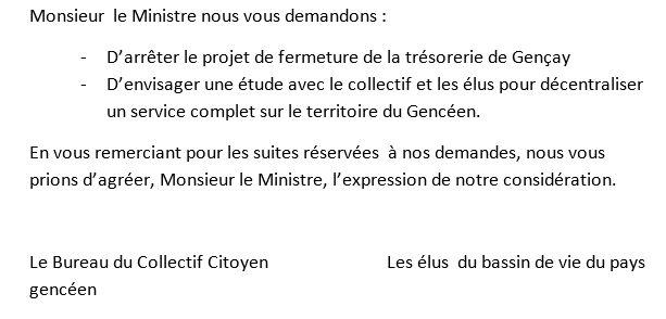Une partie de la lettre adressée au ministre Gérald Darmanin.