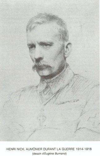 Henri Nick, aumônier durant la guerre 14/18, dessin d'Eugène Burmand
