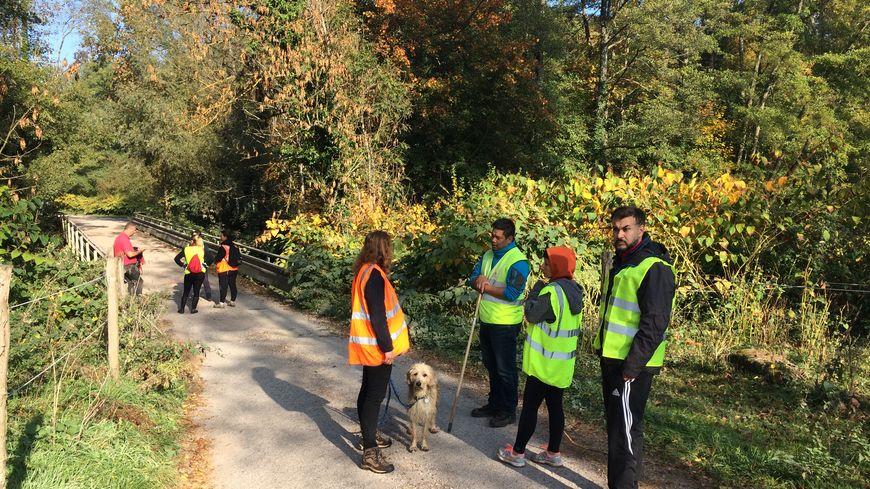 Les volontaires au Floessplatz près de Mollkirch dans la vallée de la Bruche