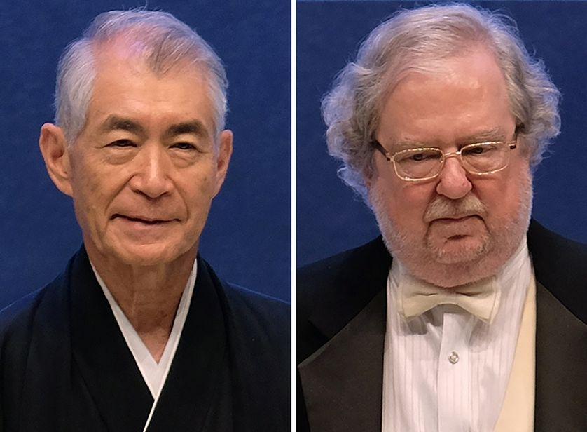 Tasuku Honjo (à gauche) et James P. Allison, les deux lauréats du Nobel de médecine 2018