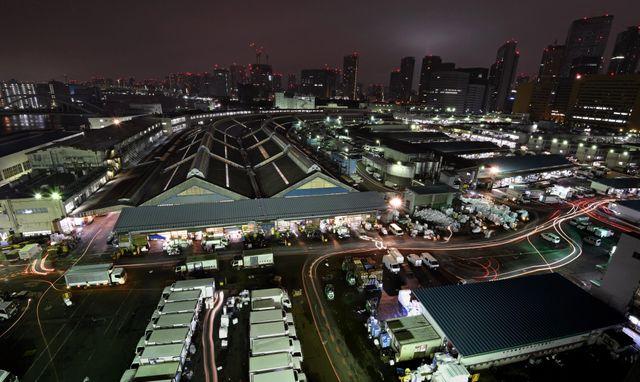 Vue d'ensemble du marché aux poissons Tsukiji, à Tokyo.