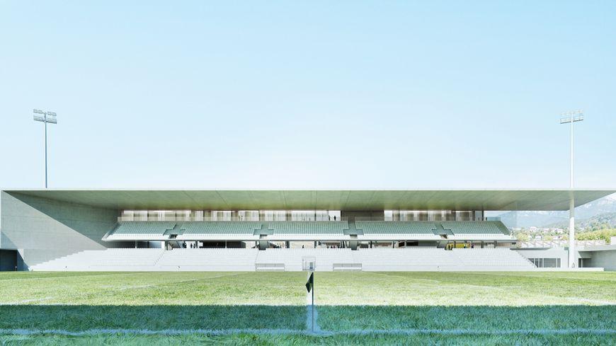 La tribune principale du futur stade, d'une capacité de 3218 places