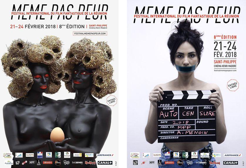 """A gauche, l'affiche originale du Festival """"Même pas peur"""". A droite, la nouvelle affiche du festival réunionnais, qui dénonce la censure subie"""