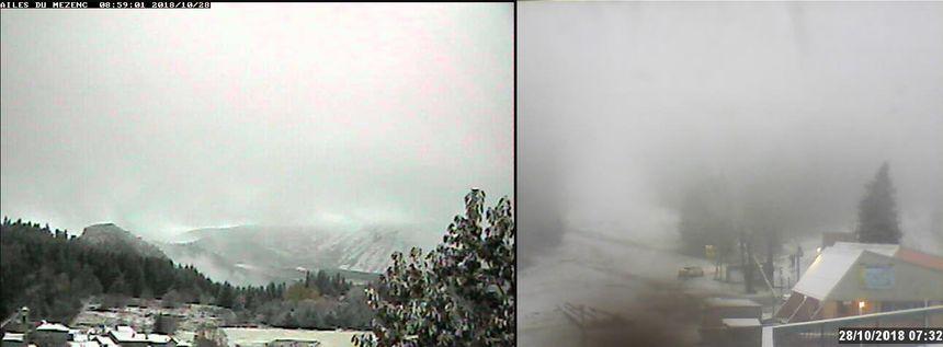 Les webcams de la Croix de Bauzon (à droite) et du Mezenc (à gauche) témoignent aussi des chutes de neige