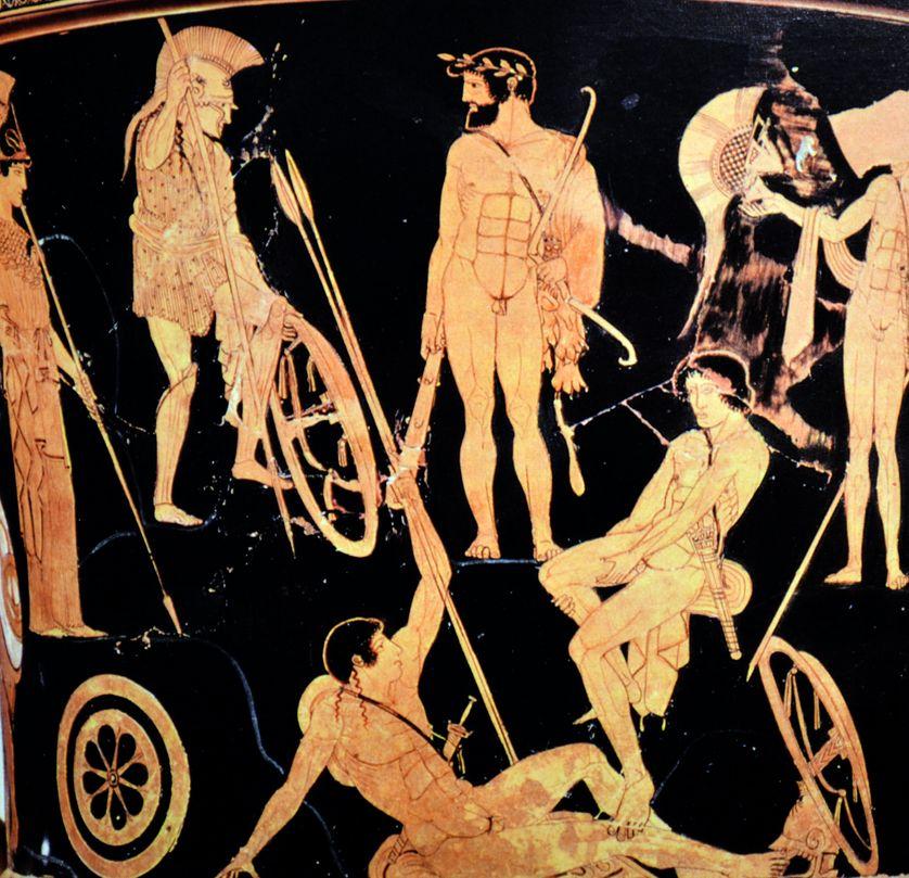 Héraclès et le rassemblement des Argonautes (ou Héraclès à Marathon ?). Face A d'un cratère en calice attique à figures rouges, 460-450 av. J.-C. Provenance : Orvieto (Italie)