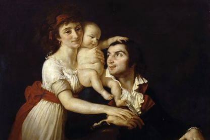 Camille Desmoulins avec sa femme Lucile et leur enfant, portrait de Jacques-Louis David exposé au château de Versailles