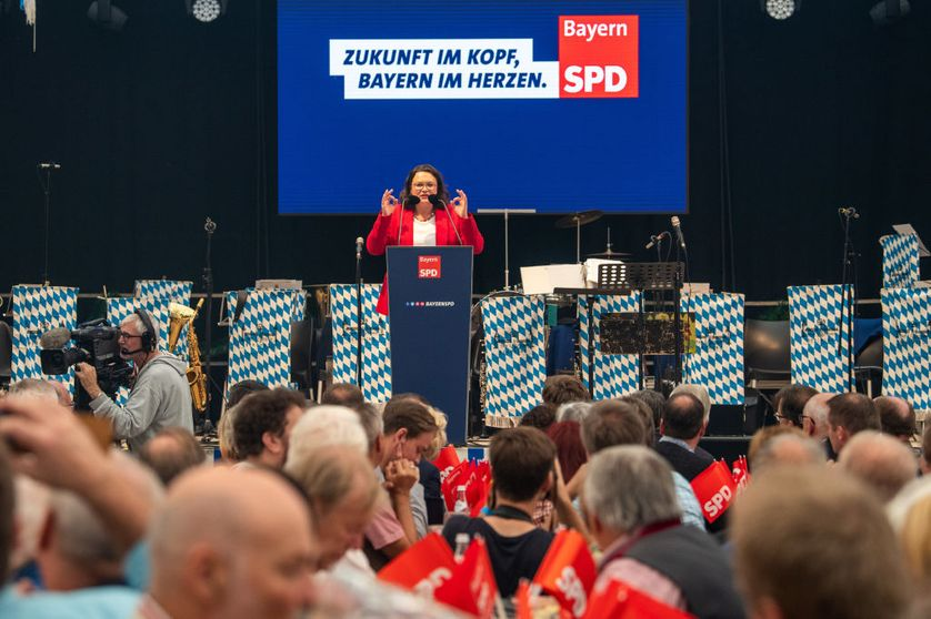 ABENSBERG, GERMANY - Andrea Nahles, leader of the German Social Democrats (SPD) speaks at the annual gathering of politicians in beer tents at the Gillamoos folk fest on September 3, 2018 in Abensberg, Germany.