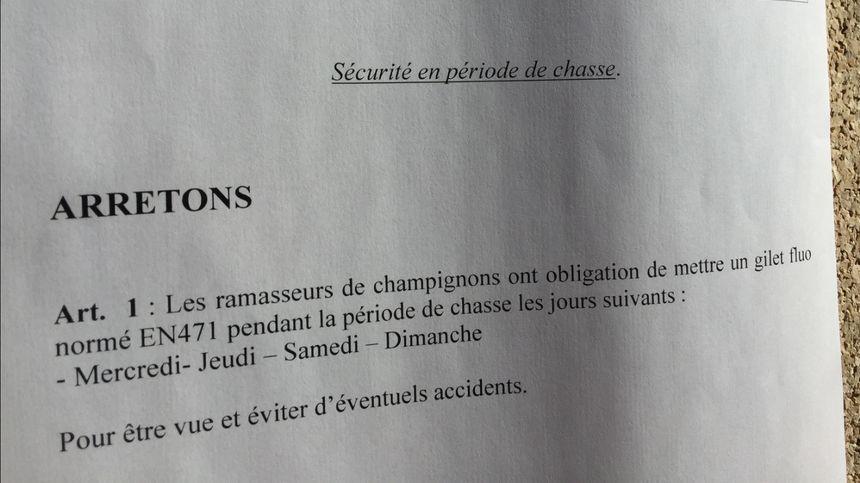 Artículo del decreto publicado por el alcalde de Jarsy - Radio France