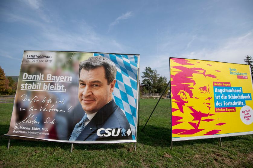 LOHR AM MAIN, GERMANY : View of election campaign billboards of the Bavarian Social Union (CSU) showing Bavarian Governor and CSU lead candidate Markus Soeder and Martin Hagen, candidate of German Free Democratic Party (FDP), 9 oct. 2018