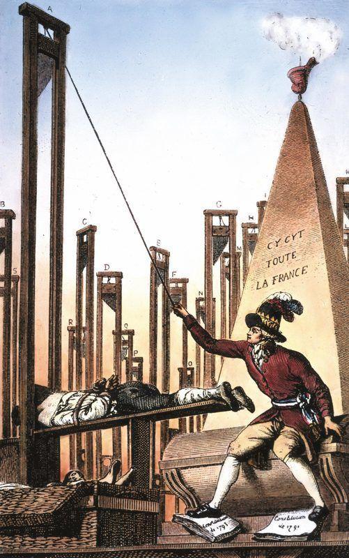 """""""Robespierre, guillotinant le bourreau après avoir fait guillotiner tous les Français"""" Gravure de 1794"""
