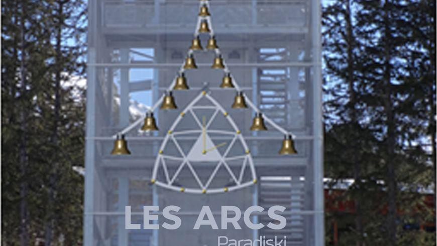 Simulation de la sculpture musicale une fois qu'elle sera installée sur la tour du centre aqualudique d'Arc 1800