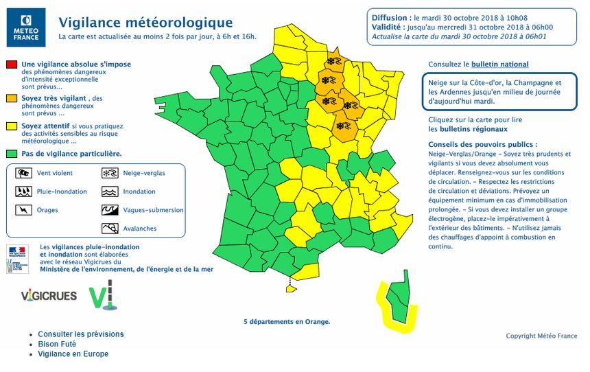 La carte des vigilances de Météo France actualisée à 10h ce mardi (capture d'écran)