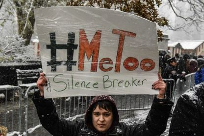 Rassemblement #MeToo devant le Trump International Hotel le 9 décembre 2017 à New York.