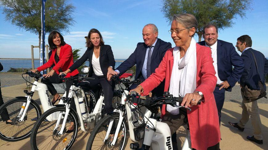 Les acteurs départementaux du vélo et la ministre des transports à Anglet au dessus du VVF