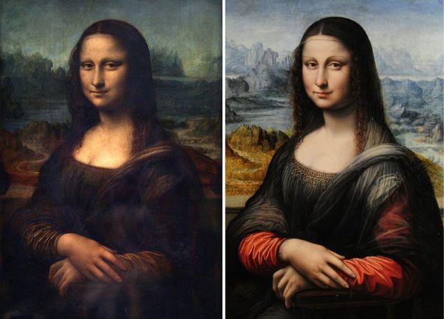 Ce montage réalisé en 2012 montre la Joconde de De Vinci à gauche et celle réalisée par son élève et exposée au Musée du Prado en Espagne