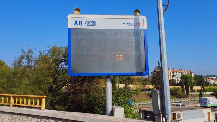 La bretelle A8/A51 sens Nice/Gap est fermée dans la nuit du lundi 22 au mardi 23 octobre