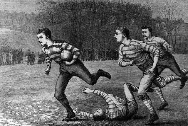 Dessin représentant une scène d'un match de rugby, daté de 1880