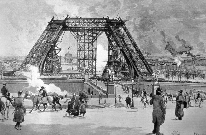 Illustration de la construction de la Tour Eiffel à Paris