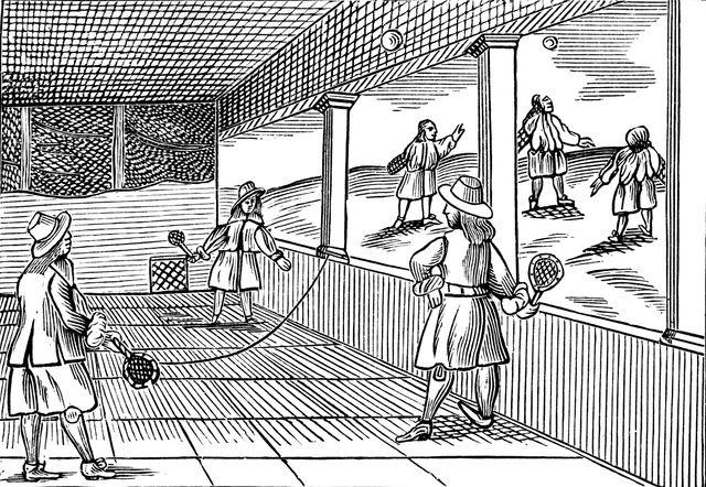 """Match de tennis, dessin tiré du livre """"Orbis sensualium pictus"""" de John Amos Comenius, en 1659 : le manuel d'éducation le plus répandu en ces temps"""