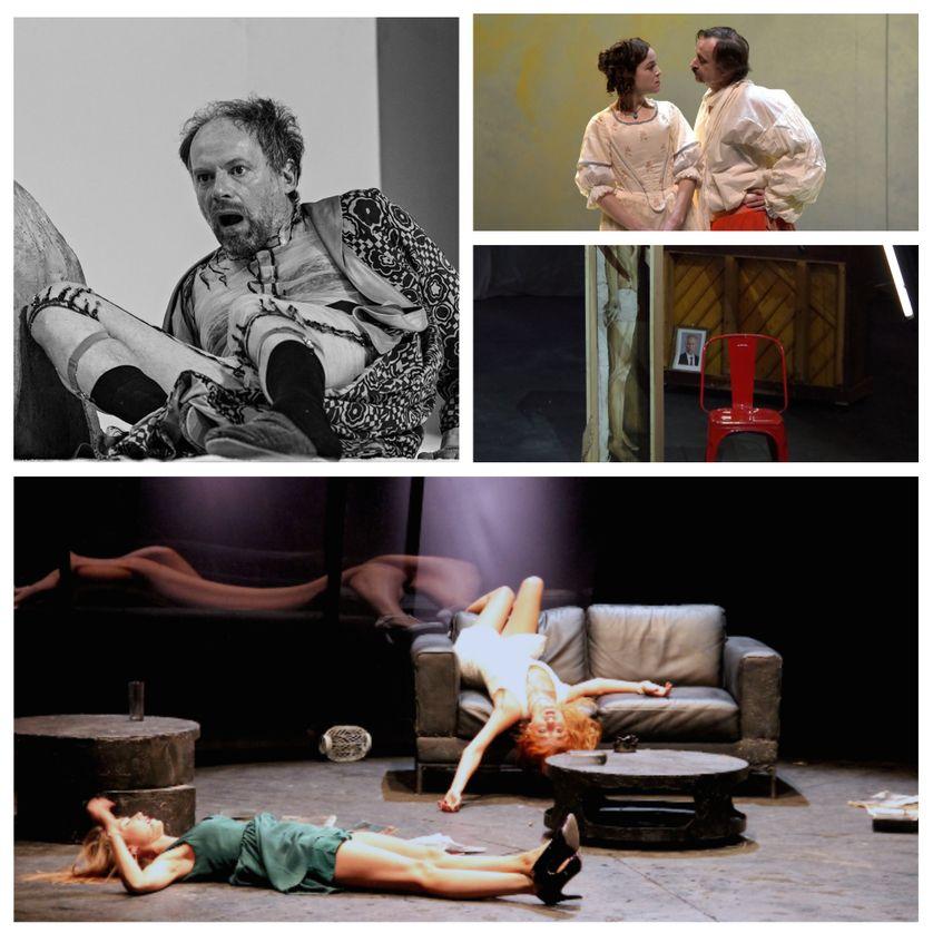 """en haut à gauche :  """"La nuit des rois ou tout ce que vous voulez"""" (© Jean-Louis Fernandez), en haut à droite : """"George Dandin ou le mari confondu"""" (© Pascal Victor) et Les Démons"""" (© DR Compagnie) / en bas : """"Les Enivrés"""" (© Léna Roche)"""