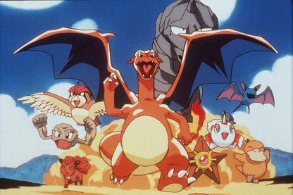 Goupix, Racaillou, Roucarnage, Dracaufeu, Onix, Stari, Poissirène, Nosferapti et Psykokwak (de gauche à droite)... une infime partie de la quantité de Pokémons... qu'il faut tous attraper !