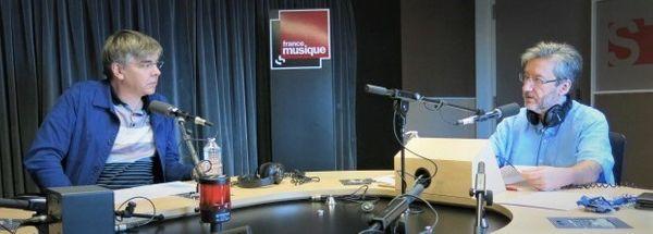 France Musique, studio 131... Le compositeur Eric Tanguy & le producteur Arnaud Merlin (g. à d.)