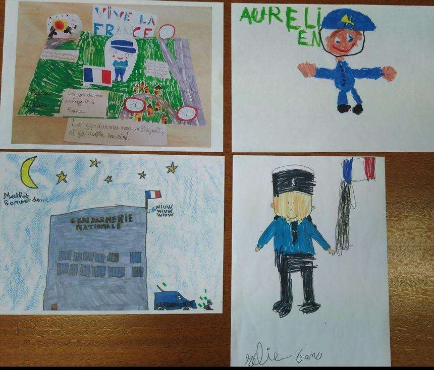 Les quatre dessins sélectionnés par la gendarmerie de la Loire.