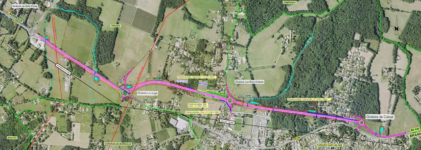 Fargues Saint-Hilaire (en bas à droite) sera contournée au nord par la nouvelle portion de la départementale 936.