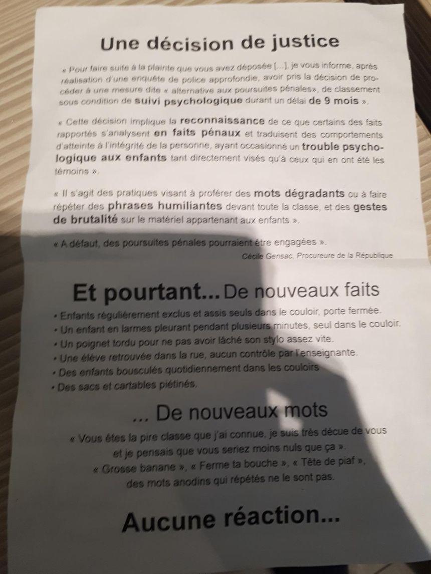"""Le dernier tracts des parents, qui dénoncent de """"nouveaux faits"""""""