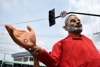 Mannequin de l'ancien président Lula, lors d'un meeting de campagne du Parti des Travailleurs le 5 octobre 2018