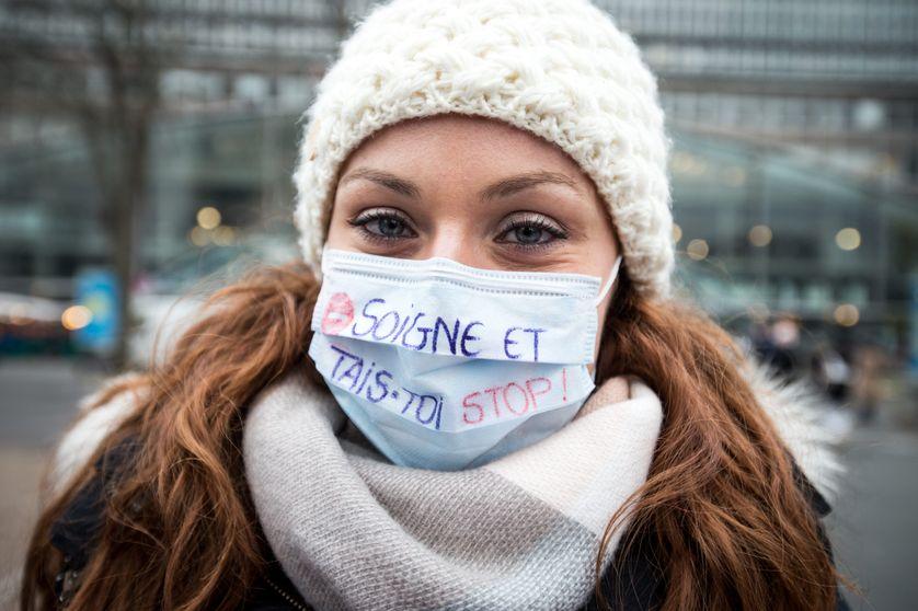 Manifestation d'infirmières et d'infirmiers à Paris, en janvier 2017.
