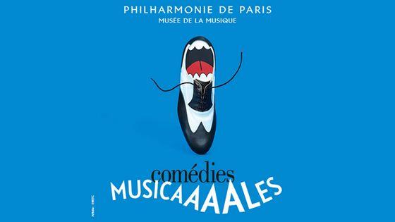 viseul de l'exposition Comédies musicales à la Philharmonie de Paris