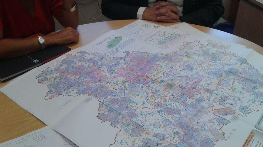 Carte du déploiement du très haut débit dans l'Yonne, en octobre 2018.