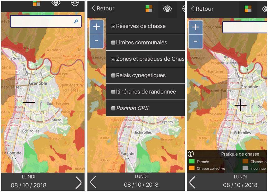 Une carte interactive permet aux utilisateurs de localiser les zones de chasse, en Isère.