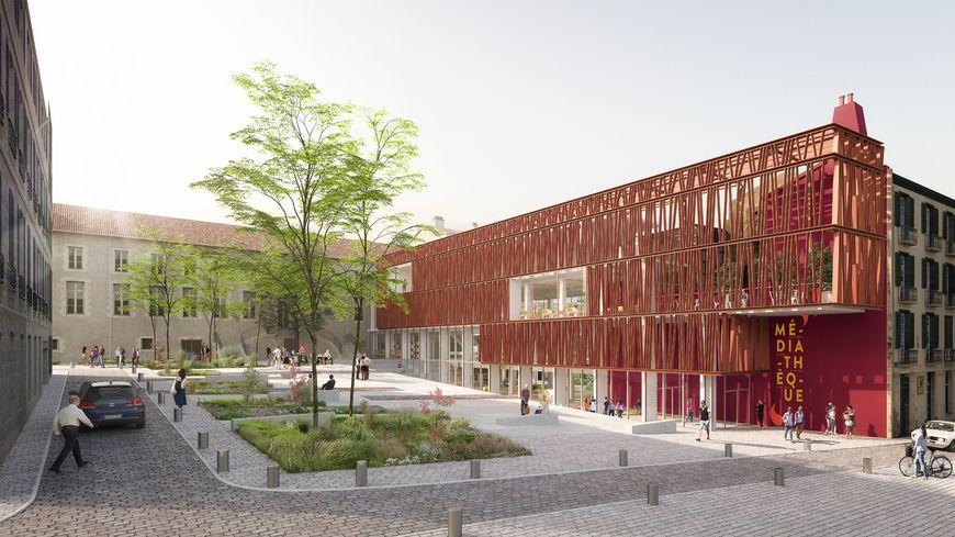 La future médiathèque (image 3D exécutée par AIR STUDIO pour le compte de Deshoulières-Jeanneau/Sogno Architectes Associés)