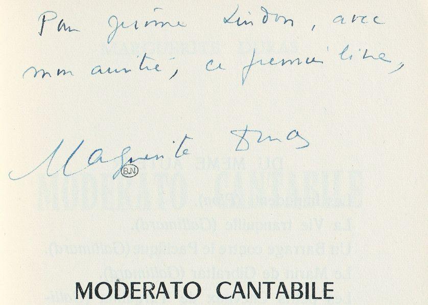 """Envoi de Marguerite Duras """"Moderato Cantabile"""" à son éditeur Jérôme Lindon des Éditions de Minuit, 1958, BnF, Réserve des livres rares."""