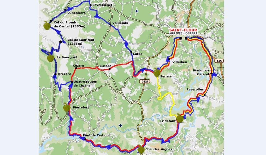 Le parcours de la Sanfloraine, que les coureurs emprunteront de Saint-Flour à Chaudes-Aigues