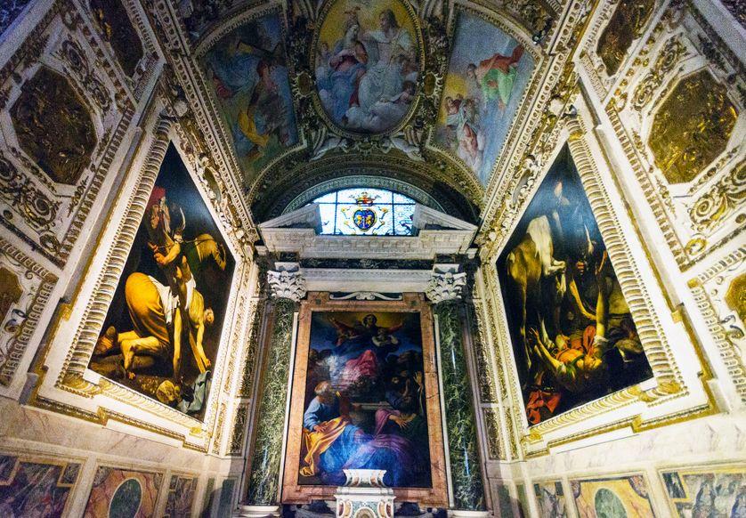 Deux tableaux de Caravage dans l'église de Santa Maria del Popolo à Rome