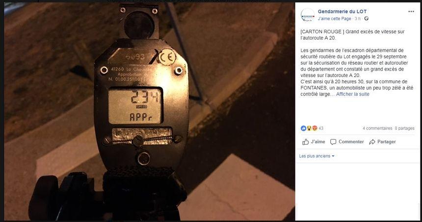 Contrôlé à 234 km/h, l'homme s'est vu retirer son permis
