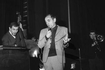 Charles Aznavour sur scène à l'Olympia, le 17 janvier 1963