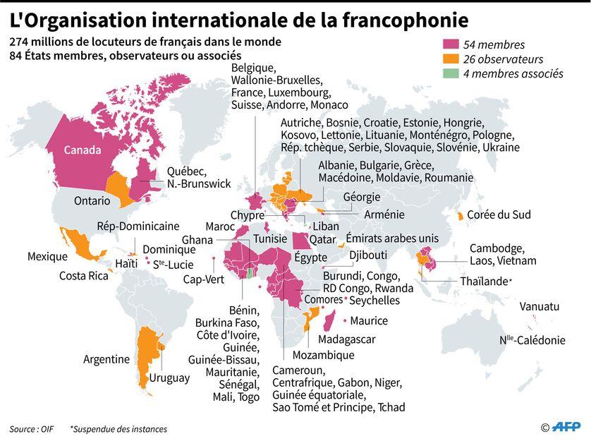 Carte mondiale des membres, observateurs et membres associés à l'Organisation internationale de la francophonie