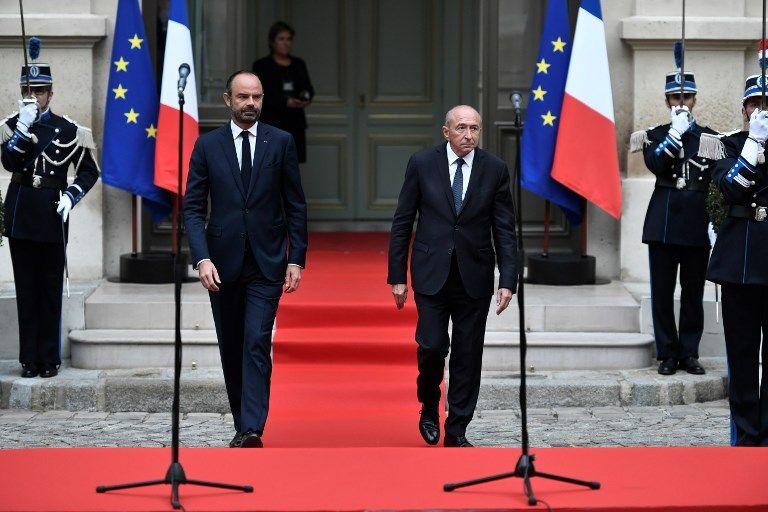 Gérard Collomb et Edouard Philippe le 3 octobre, Place Beauvau