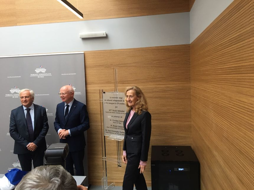 La ministre de la Justice, Nicole Belloubet inaugure le nouveau Tribunal Administratif de Nice.