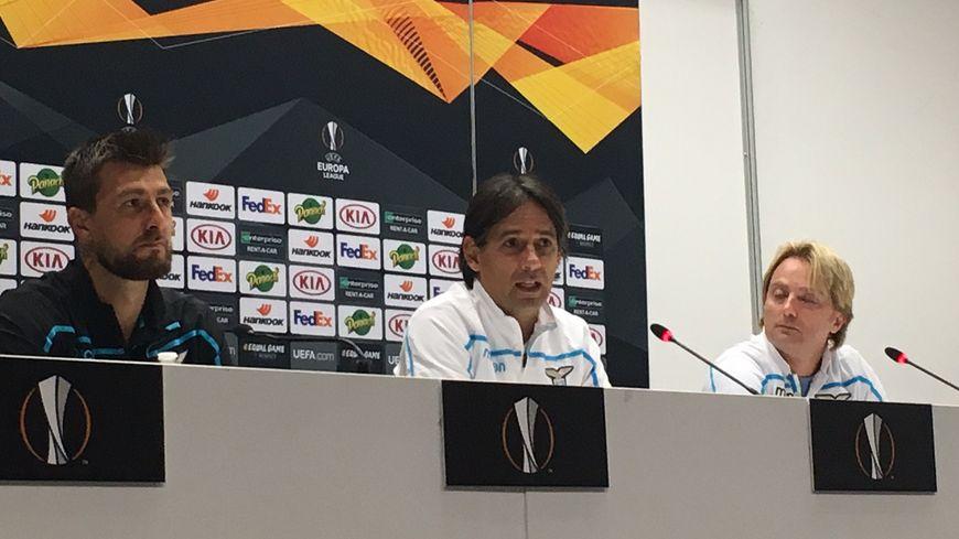 Simone Inzaghi (au centre), entraîneur de la Lazio qui joue ce jeudi à Marseille en Europa League