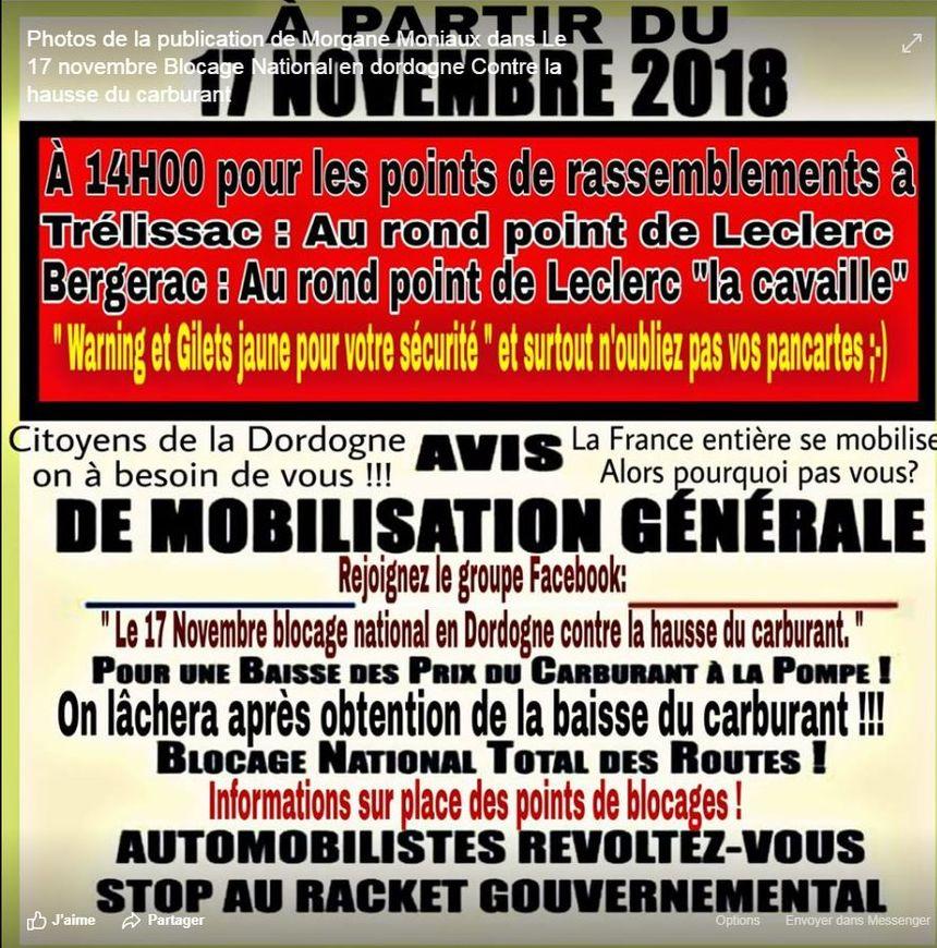 L'appel à la mobilisation est lancé sur Facebook.