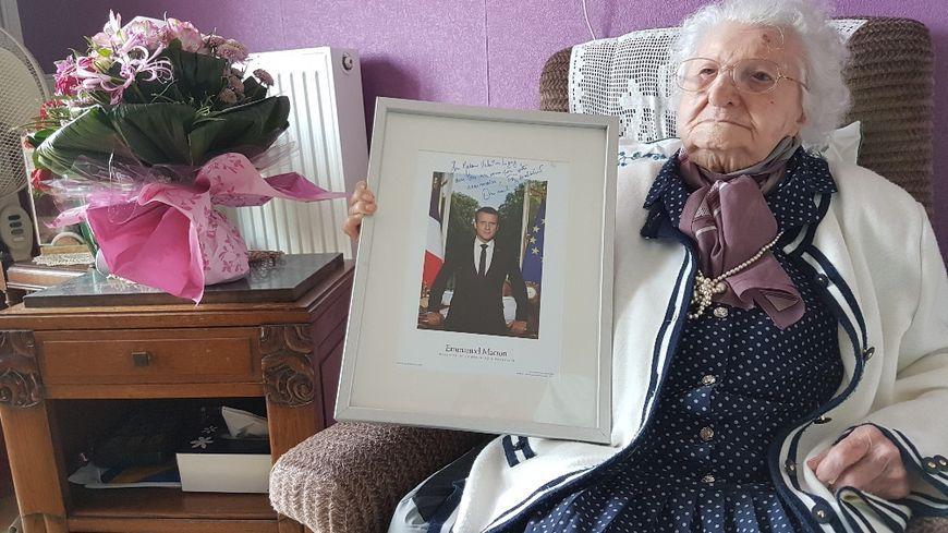 Pour ses 111 ans l'an dernier Valentine Ligny a reçu les vœux  d'Emmanuel Macron
