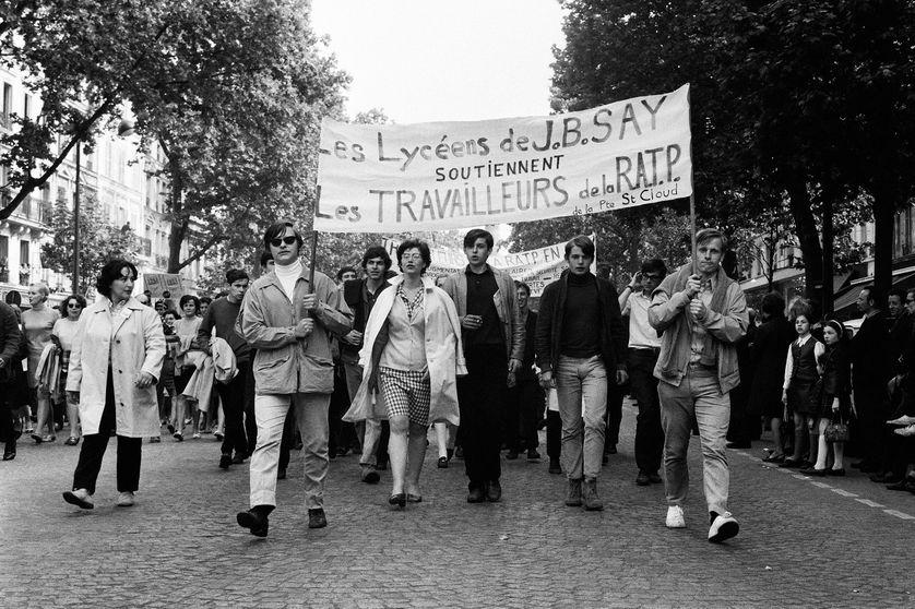 En mai 1968, manifestation unitaire, lycéens de Jean-Baptiste Say et travailleurs de la Ratp, 29 mai 1968